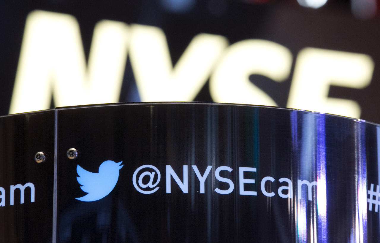 FILE - This Wednesday Nov. 6, 2013, file photo shows the Twitter bird logo on an updated phone post on the floor of the New York Stock Exchange. Twitter reports financial results Tuesday, July 26, 2016. (AP Photo/Richard Drew, File)