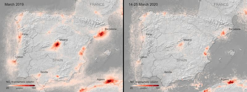 A combination image from the ESA shows the average nitrogen dioxide concentrations from air pollution across Spain