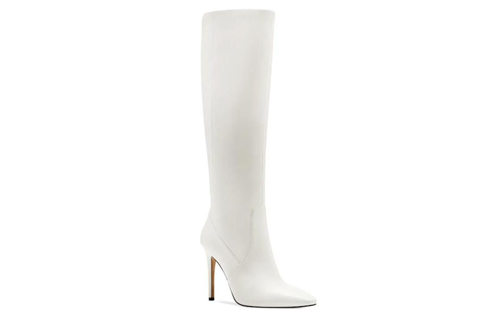 white boots, knee high, heeled, vince camuto