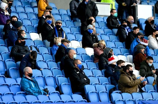 Brighton and Hove Albion will not be able to host fans after Boxing Day