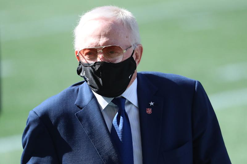 SEATTLE, WASHINGTON - SEPTEMBER 27: Dallas Cowboys Owner Jerry Jones looks on before their game against the Seattle Seahawks at CenturyLink Field on September 27, 2020 in Seattle, Washington. (Photo by Abbie Parr/Getty Images)