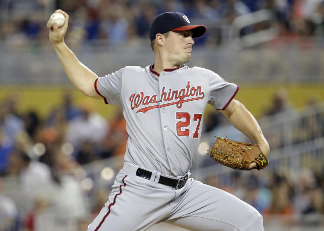 Washington Nationals starting pitcher Jordan Zimmermann (27) throws in the first inning during a baseball game against the Miami Marlins, Monday, July 28, 2014, in Miami. (AP Photo/Lynne Sladky)
