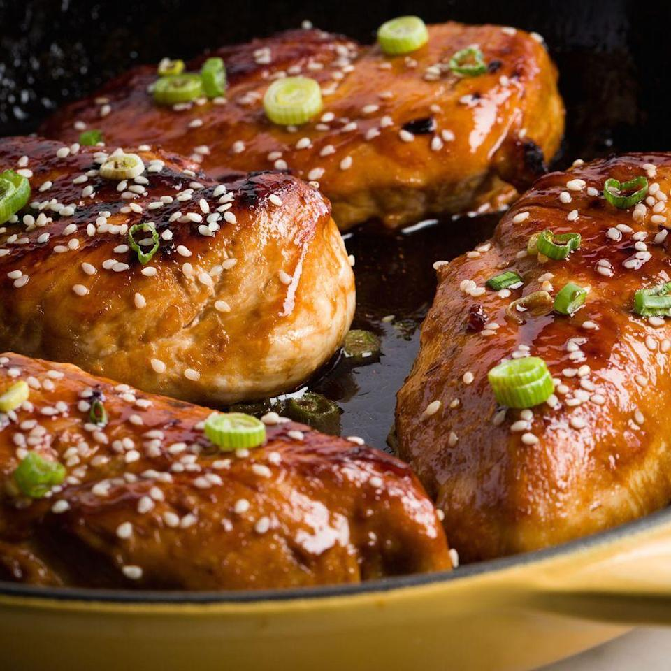 """<p>Need an easy dinner tonight? This super-simple recipes glazes chicken breasts in a delicious sauce of soy sauce, honey, and lime juice.</p><p>Get the <a href=""""https://www.delish.com/uk/cooking/recipes/a29545654/baked-honey-garlic-chicken-recipe/"""" rel=""""nofollow noopener"""" target=""""_blank"""" data-ylk=""""slk:Baked Honey-Garlic Chicken"""" class=""""link rapid-noclick-resp"""">Baked Honey-Garlic Chicken</a> recipe.</p>"""