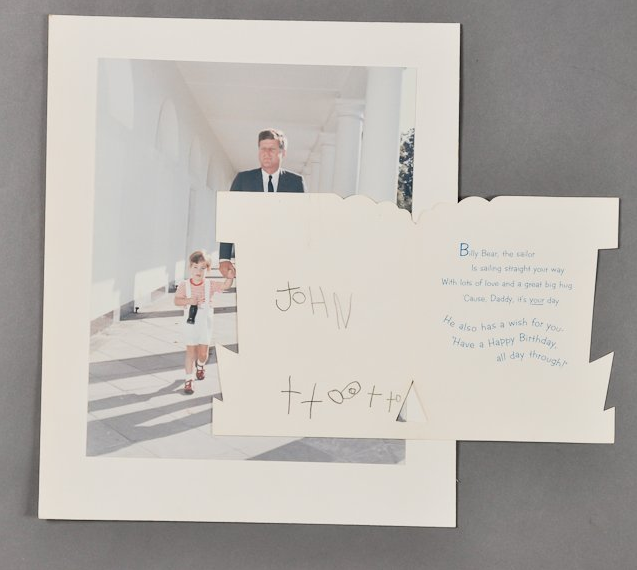 """A birthday card from John F. Kennedy Jr. to his father on May 29, 1963. President Kennedy was killed a few months later. <a href=""""http://www.mcinnisauctions.com/"""" rel=""""nofollow noopener"""" target=""""_blank"""" data-ylk=""""slk:(Photo courtesy of John McInnis Auctioneers)"""" class=""""link rapid-noclick-resp"""">(Photo courtesy of John McInnis Auctioneers)</a>"""