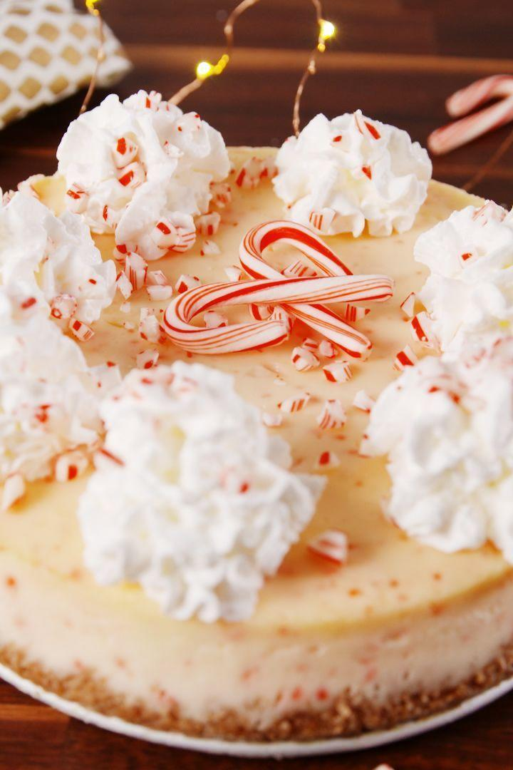 """<p>Your Christmas dessert dreams come true. </p><p>Get the <a href=""""https://www.delish.com/uk/cooking/recipes/a29682158/candy-cane-cheesecake-recipe/"""" rel=""""nofollow noopener"""" target=""""_blank"""" data-ylk=""""slk:Candy Cane Cheesecake"""" class=""""link rapid-noclick-resp"""">Candy Cane Cheesecake</a> recipe.</p>"""