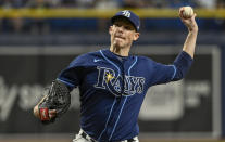 Tampa Bay Rays reliever Ryan Yarbrough pitches against the Miami Marlins during the fourth inning of a baseball game Friday, Sept. 24, 2021, in St. Petersburg, Fla. (AP Photo/Steve Nesius)