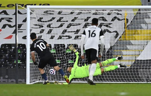 Sergio Aguero (left) registers his first league goal in 14 months with a spot-kick in Manchester City's 3-0 win at Fulham (Justin Setterfield/PA).