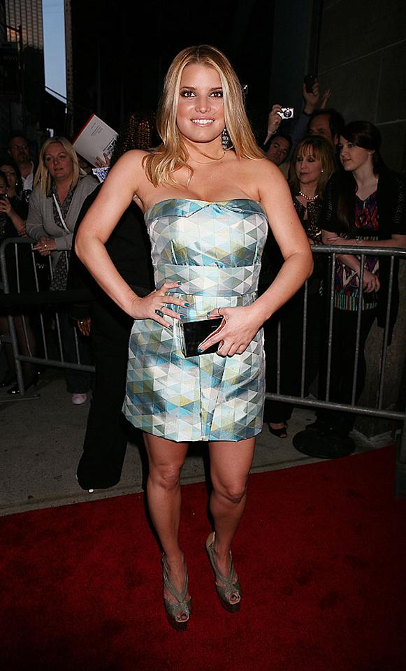 """We're rooting for Jessica Simpson and her new reality show, """"The Price of Beauty,"""" but when it comes to fashion, we disapprove of just about everything she dons. Case in point: this uncomfortable-looking, boxy bustier dress, courtesy of Matthew Williamson, which she wore to <i>Good Housekeeping's</i> 125th anniversary soiree. Jennifer Mitchell/<a href=""""http://www.splashnewsonline.com"""" target=""""new"""">Splash News</a> - April 12, 2010"""