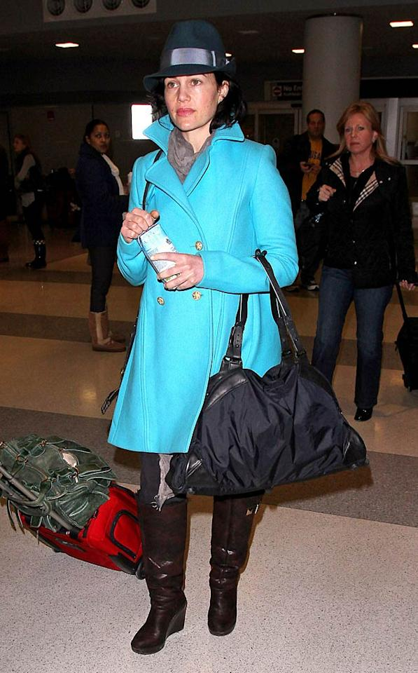 "Suffice it to say, turquoise isn't Carla Gugino's color. <a href=""http://www.pacificcoastnews.com/"" target=""new"">PacificCoastNews.com</a> - January 28, 2011"