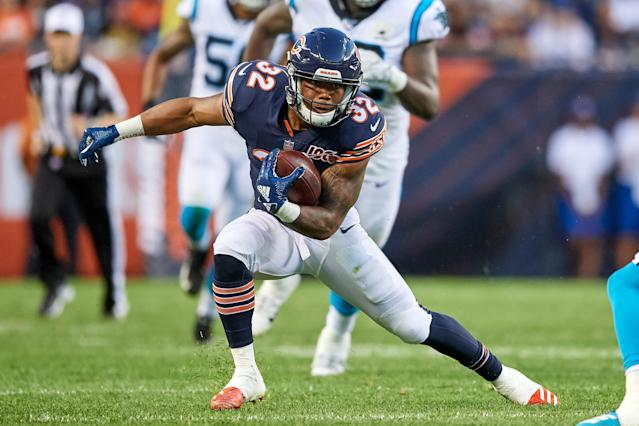 Chicago Bears running back David Montgomery has the moves and opportunity to deliver a monster rookie season. (Photo by Robin Alam/Icon Sportswire via Getty Images)