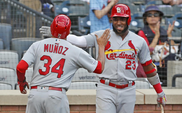 St. Louis Cardinals on-deck batter Marcell Ozuna (23) celebrates with Yairo Munoz, who scored on Paul DeJong's single during the 10th inning of the continuation of a rain-suspended baseball game against the New York Mets, Friday, June 14, 2019, in New York. The Cardinals won 5-4. (AP Photo/Kathy Willens)