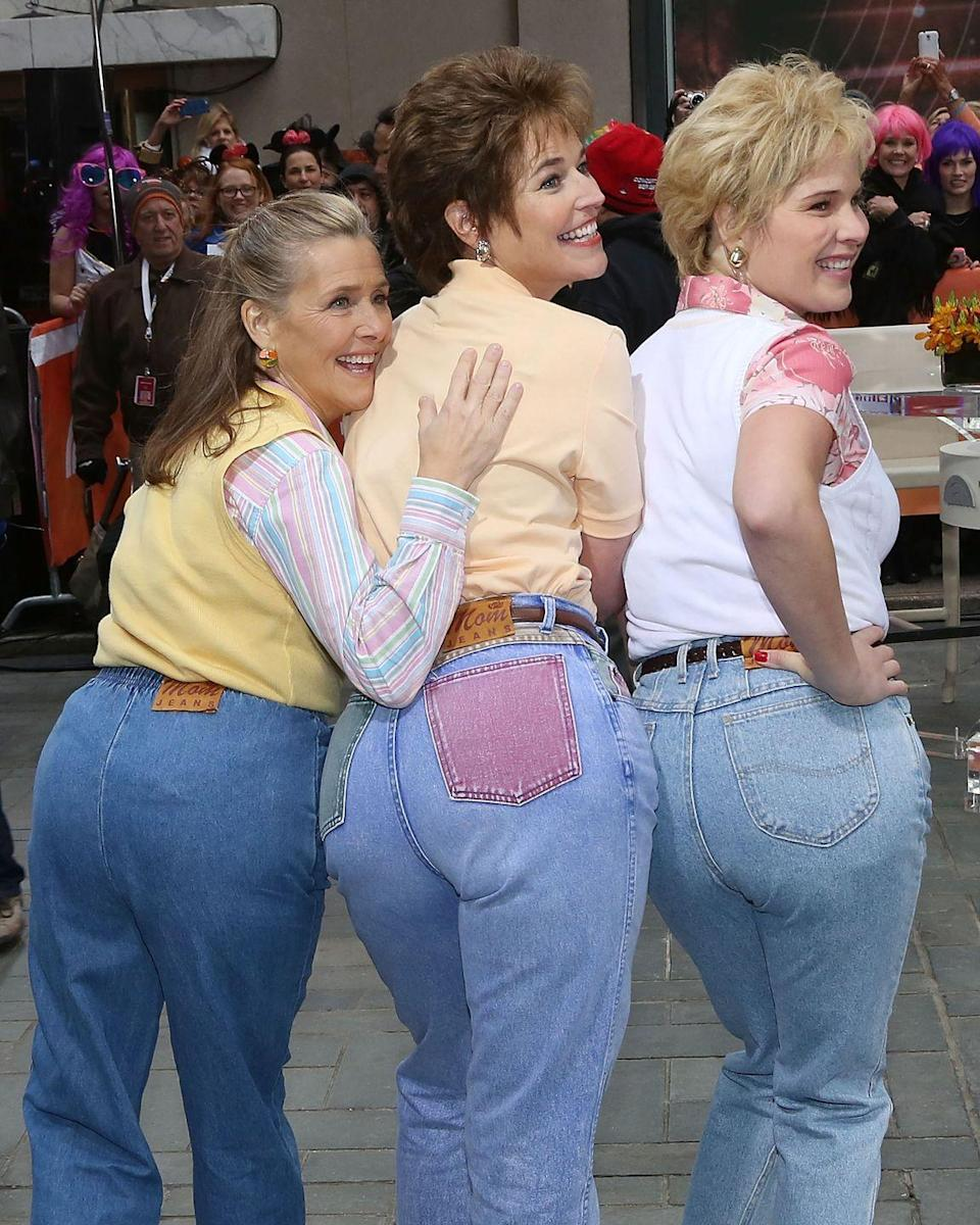 <p>Who could forget the Mom Jeans skit?! The ladies from <em>Today</em> are total proof of its iconic worth as Meredith Vieira, Savannah Guthrie, and Jenna Bush Hager sported the jeans around the plaza. Um, hello, Mom jeans fit just the way she likes it. </p>