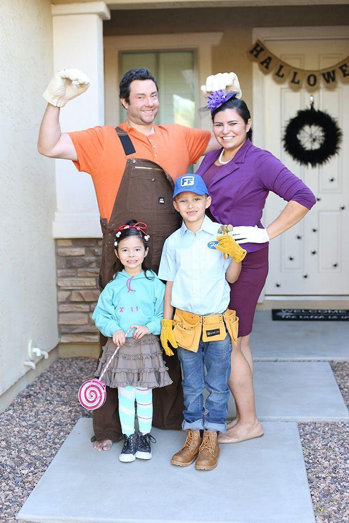 """<p>You can totally DIY most of the pieces worn by the characters in this <a href=""""https://www.goodhousekeeping.com/holidays/halloween-ideas/g4771/disney-halloween-costumes/"""" rel=""""nofollow noopener"""" target=""""_blank"""" data-ylk=""""slk:Disney classic"""" class=""""link rapid-noclick-resp"""">Disney classic</a>. Ralph's hands in this picture are actually <a href=""""https://www.amazon.com/gp/product/B00ND5ZPLI?tag=syn-yahoo-20&ascsubtag=%5Bartid%7C10055.g.28106766%5Bsrc%7Cyahoo-us"""" rel=""""nofollow noopener"""" target=""""_blank"""" data-ylk=""""slk:Hulk hands"""" class=""""link rapid-noclick-resp"""">Hulk hands</a> that blogger Vanessa Coppola spray painted.</p><p><em><a href=""""https://seevanessacraft.com/2017/10/halloween-diy-wreck-ralph-family-costume/"""" rel=""""nofollow noopener"""" target=""""_blank"""" data-ylk=""""slk:Get the tutorial at See Vanessa Craft>>"""" class=""""link rapid-noclick-resp"""">Get the tutorial at See Vanessa Craft>></a></em></p>"""