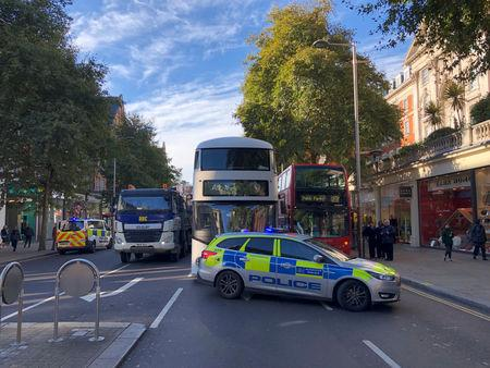 Police cars are seeen in central London