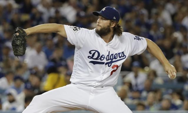 "<a class=""link rapid-noclick-resp"" href=""/mlb/players/8180/"" data-ylk=""slk:Clayton Kershaw"">Clayton Kershaw</a> shows up a few times on a video that features the best pitches of 2017. (AP Photo)"