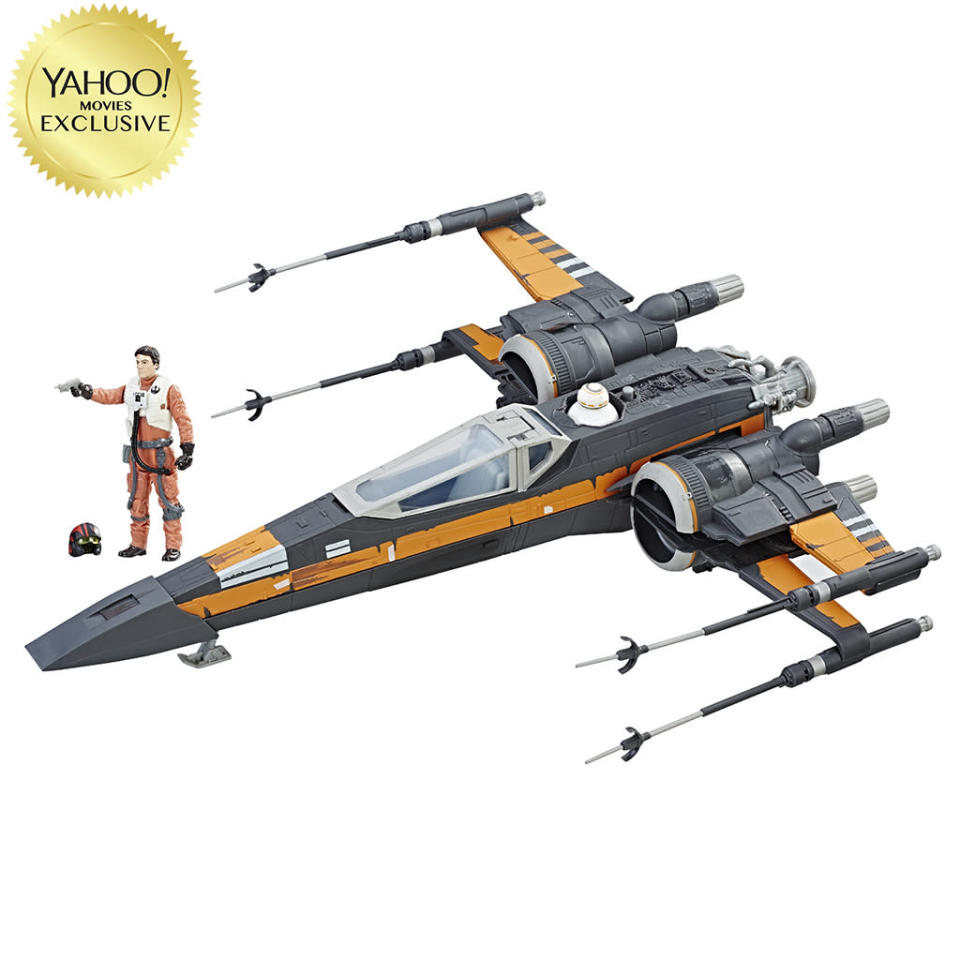 """<p>Poe Dameron's tricked-out starship features sound and light effects when paired with a Force Link device (sold separately). $49.99/Toys """"R"""" Us exclusive (Photo: Hasbro) </p>"""