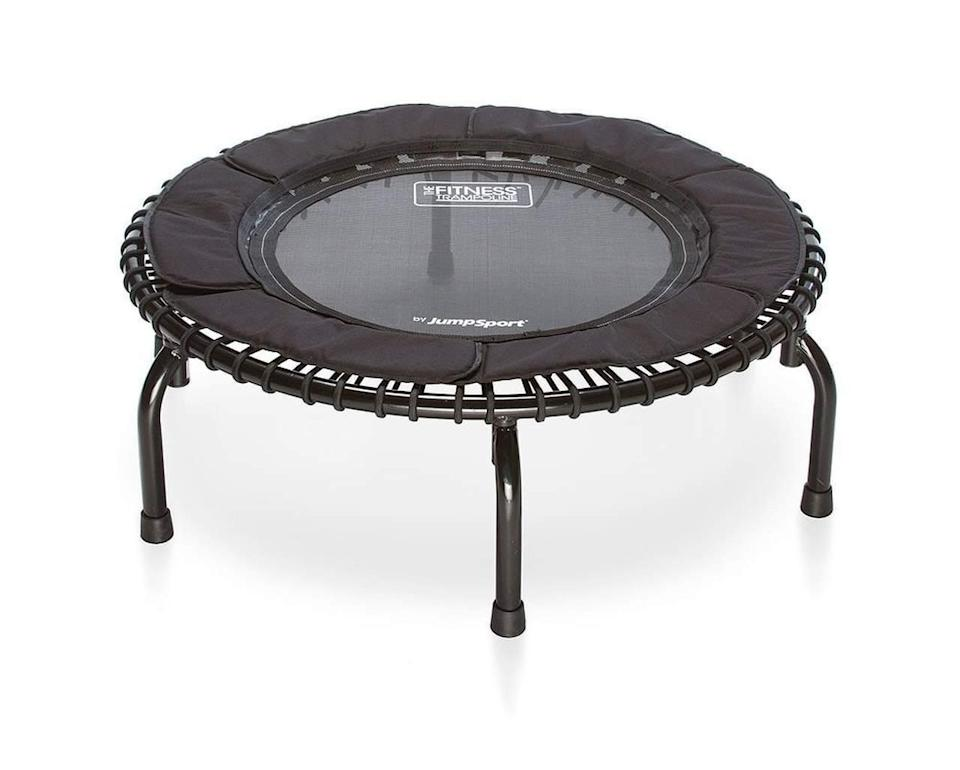 """<h2>JumpSport Fitness Trampoline</h2><br>""""I use this 3-4 times a week to exercise. I previously went to a JumpStart studio in NYC with in-person classes but they have since shifted to a digital platform."""" – <em>Jimena Vargas Manager, Global Revenue Analytics</em><br><br><em>Shop <strong><a href=""""https://www.jumpsport.com/fitness-trampolines/"""" rel=""""nofollow noopener"""" target=""""_blank"""" data-ylk=""""slk:Jumpsport"""" class=""""link rapid-noclick-resp"""">Jumpsport</a></strong></em> <br><br><strong>Jumpsport</strong> Jumpsport Fitness Trampoline, $, available at <a href=""""https://go.skimresources.com/?id=30283X879131&url=https%3A%2F%2Ffave.co%2F2K0wzi8"""" rel=""""nofollow noopener"""" target=""""_blank"""" data-ylk=""""slk:Jumpsport"""" class=""""link rapid-noclick-resp"""">Jumpsport</a>"""