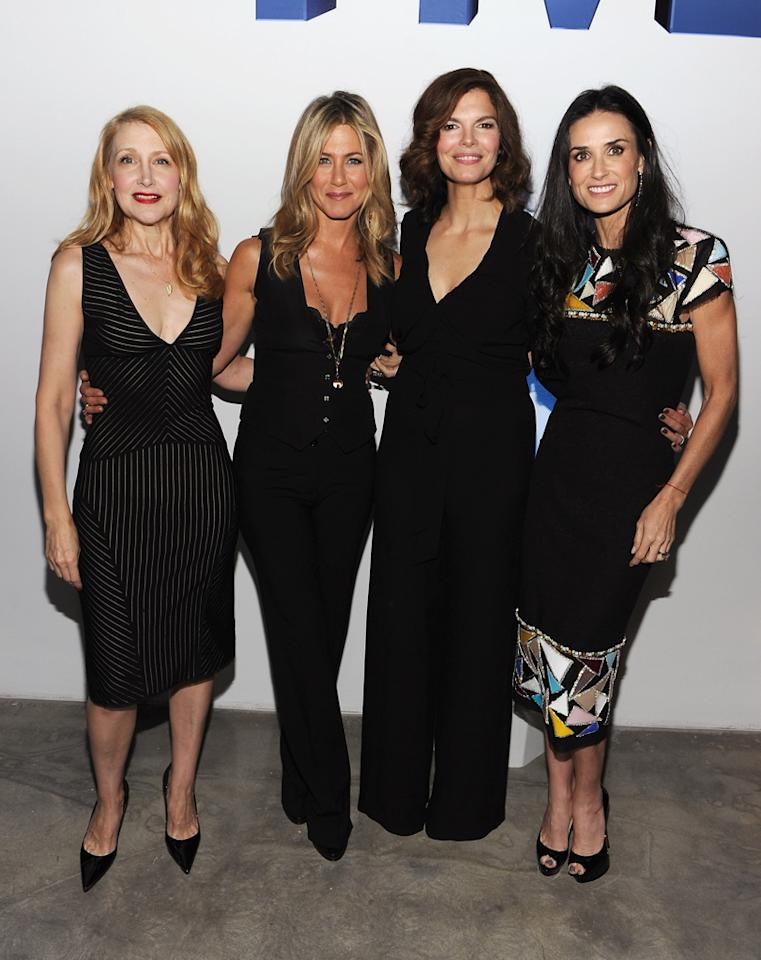 "Later, Jen and Demi caught up with fellow actresses Patricia Clarkson (far left) and ""Big Love"" star Jeanne Tripplehorn (second from right). ""We wanted stories that were informative without being heavy-handed,"" Jen recently told <i>Glamour</i> magazine about the project. ""Oh, and they needed to be brilliantly written. Other than that, our goals were small."" Larry Busacca/<a href=""http://www.gettyimages.com/"" target=""new"">GettyImages.com</a> - September 26, 2011"