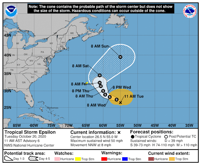 The forecast track of Tropical Storm Epsilon shows it approaching Bermuda by later in the week.