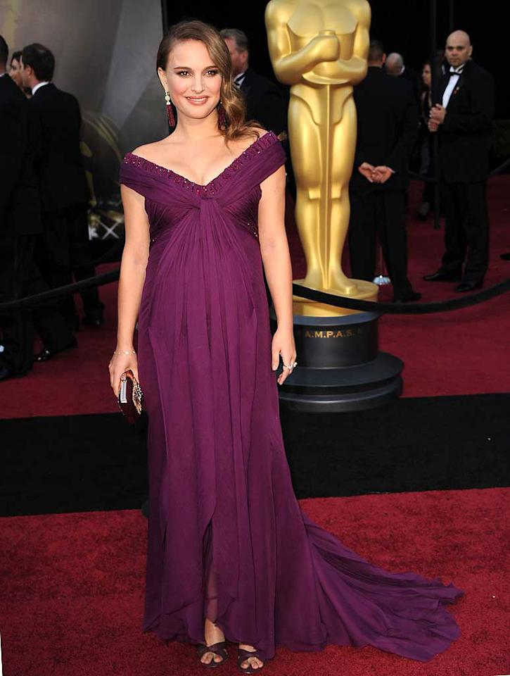 18. Natalie Portman -- in an off-the-shoulder Rodarte dress, Tiffany & Co. tassel earrings, and Jimmy Choo heels -- at the 83rd Annual Academy Awards. (02/27/2011)