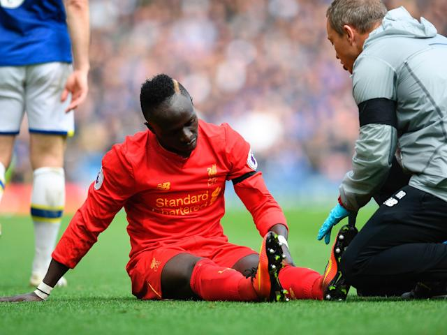 Sadio Mane opened the scoring in the 228th Merseyside derby, only to later leave injured: Getty
