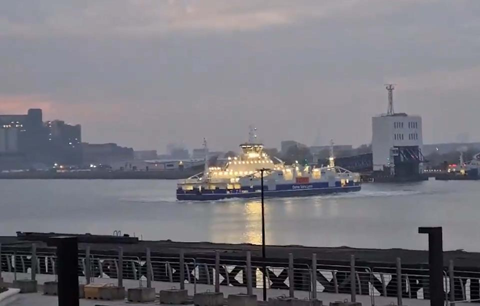 Handout video grab issued by Becky Stout of the Woolwich Ferry in London sounding its horn and spinning during the Clap for Carers event last night.