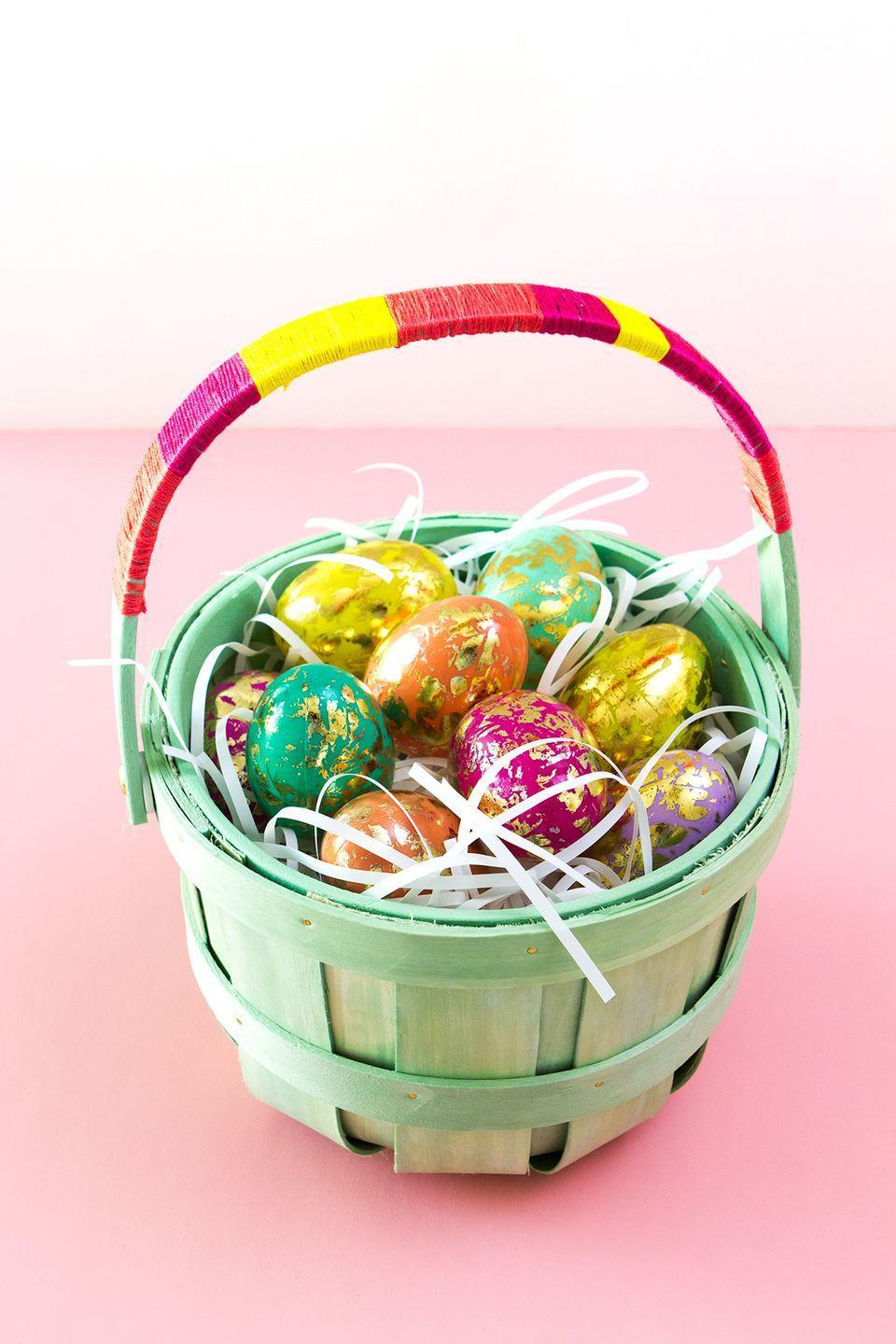 "<p>To create a cool color-blocked look, simply wrap the handle of any basket or pail with vibrant thread. </p><p>Get the tutorial at <a href=""https://sarahhearts.com/diy-color-block-easter-basket/"" rel=""nofollow noopener"" target=""_blank"" data-ylk=""slk:Sarah Hearts."" class=""link rapid-noclick-resp"">Sarah Hearts.</a></p><p><a class=""link rapid-noclick-resp"" href=""https://www.amazon.com/Caydo-Embroidery-Friendship-Bracelets-Rainbow/dp/B07568BVWP?tag=syn-yahoo-20&ascsubtag=%5Bartid%7C10072.g.30506642%5Bsrc%7Cyahoo-us"" rel=""nofollow noopener"" target=""_blank"" data-ylk=""slk:SHOP EMBROIDERY THREAD"">SHOP EMBROIDERY THREAD</a></p>"