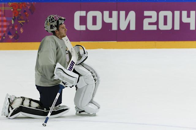USA goaltender Jonathan Quick takes a break during a training session at the Bolshoy Ice Dome at the the 2014 Winter Olympics, Tuesday, Feb. 11, 2014, in Sochi, Russia. (AP Photo/Julio Cortez)