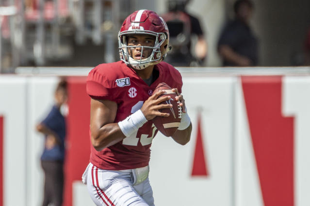 Tagovailoa threw for a career-high 444 yards and five touchdowns in the Crimson Tide's win against South Carolina. (AP/Vasha Hunt)