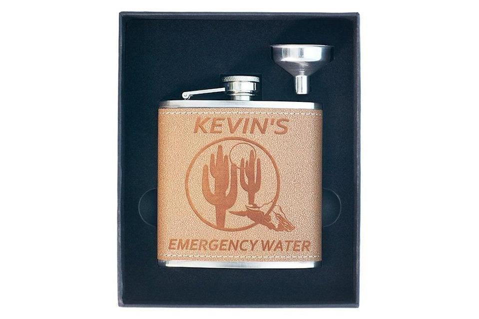 <p>Get his name on this <span>Personalized Leather Flask </span> ($17).</p>