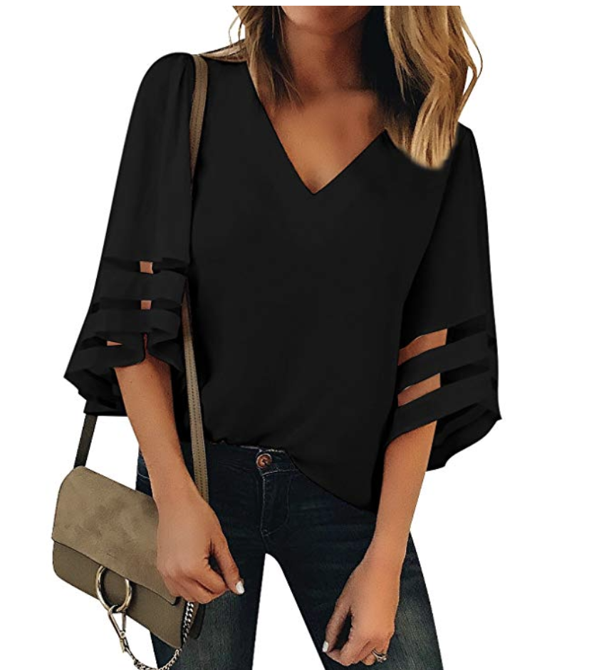 LookbookStore Women's V Neck Mesh Panel Blouse 3/4 Bell Sleeve Loose Top Shirt. (Photo: Amazon)