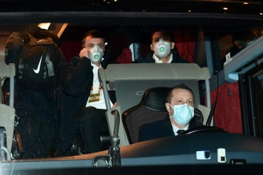Players from Bulgarian side Ludogorets wore protective face masks as they arrived for the Europa League match against Inter Milan in Italy last Thursday