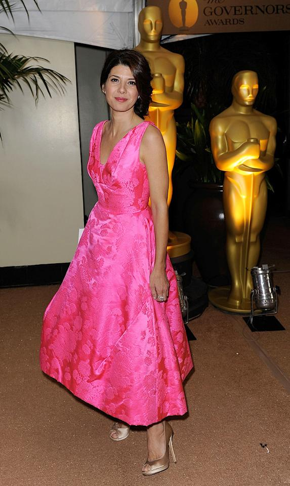 "<a href=""http://movies.yahoo.com/movie/contributor/1800024659"">Marisa Tomei</a> at the Academy of Motion Picture Arts and Sciences' Inaugural Governors Awards - 11/14/2009"