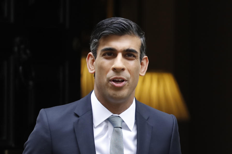 Britain's Chancellor of the Exchequer Rishi Sunak leaves 11 Downing street in central London on July 8, 2020. - Sunak will today unveil a mini-budget to help kickstart the UK economy following devastation wreaked by coronavirus fallout. (Photo by Tolga AKMEN / AFP) (Photo by TOLGA AKMEN/AFP via Getty Images)