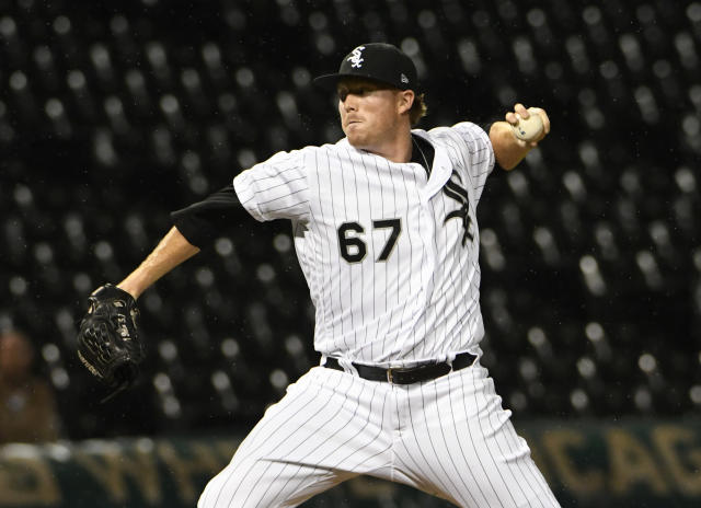 Chicago White Sox relief pitcher Caleb Frare throws to a Detroit Tigers batter during the sixth inning of a baseball game Wednesday, Sept. 5, 2018, in Chicago. (AP Photo/David Banks)