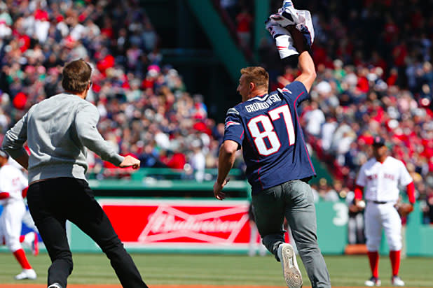 Watch Tom Brady s Jersey Get Stolen Again at Red Sox Opening Day (Video) 5c9a1209d