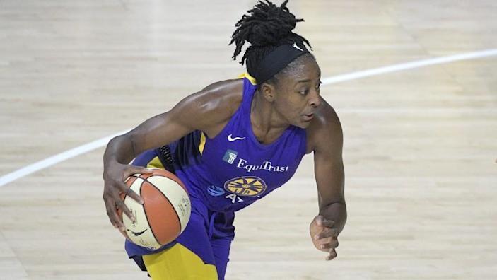 Los Angeles Sparks forward Nneka Ogwumike (30) drives to the basket during the first half of a WNBA basketball game against the Indiana Fever, Saturday, Aug. 15, 2020, in Bradenton, Fla. (AP Photo/Phelan M. Ebenhack)