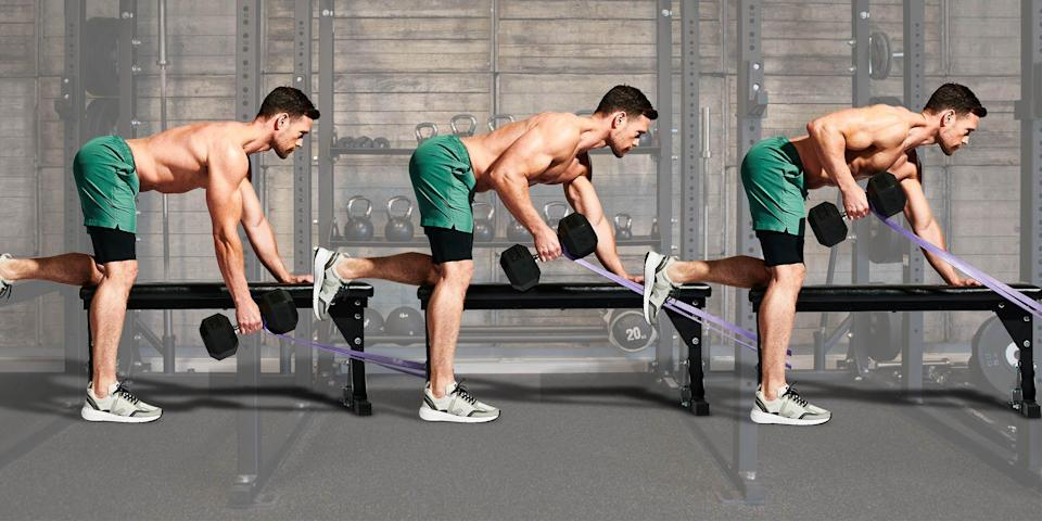 """<p>Building a bigger back can be tricky. """"Many people have trouble with the posterior chain in general,"""" says MH fitness editor Andrew Tracey. """"It's a case of 'out of sight, out of mind'."""" Yet neglecting the muscles you can't see will only result in bad form.""""We're so mid-back dominant,"""" says Tracey. </p><p>""""The first thing we do when we pull something towards us is shrug up and shrink our bodies. It can be difficult to know how to switch on our lats.""""Working a band into this gym staple will set you straight. """"When you're performing a dumbbell row, the angle of resistance is up and down,"""" says Tracey. """"The band distraction adds horizontal resistance. This creates a cue to switch on our lats and use them to move the weight."""" </p><p>Perform three sets of 10 reps on each arm with a light weight; go heavy once you've mastered it. You'll hit all the muscles – lats, rhomboids, rear delts – needed to bring your back to its best.</p>"""