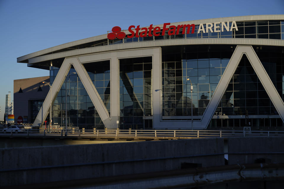 The State Farm Arena is seen in Fulton County where ballots will continue being counted in Atlanta on Wednesday, Nov. 4, 2020, after a delay on Election Day. (AP Photo/Brynn Anderson)
