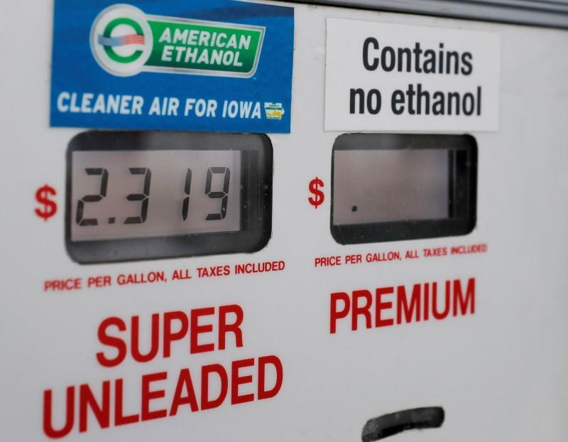 FILE PHOTO: Choices at the gas pump including ethanol or no ethanol gas are seen in Des Moines