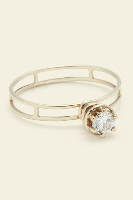 """<p><strong>Erica Weiner</strong> Atomic Ring, $1,650, available at <a href=""""http://ericaweiner.com/collections/engagement/products/atomic-ring"""" rel=""""nofollow noopener"""" target=""""_blank"""" data-ylk=""""slk:Erica Weiner"""" class=""""link rapid-noclick-resp"""">Erica Weiner</a>.</p>"""