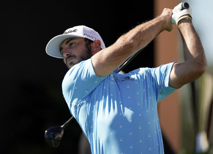 Max Homa tees off on the first hole during the final round of the Genesis Invitational golf tournament at Riviera Country Club, Sunday, Feb. 21, 2021, in the Pacific Palisades area of Los Angeles. (AP Photo/Ryan Kang)