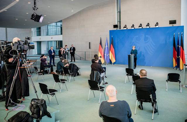 German chancellor Angela Merkel makes a press statement on the spread of the new coronavirus at the Chancellery, in Berlin on 22 March. Photo: Michael Kappeler/AFP via Getty Images