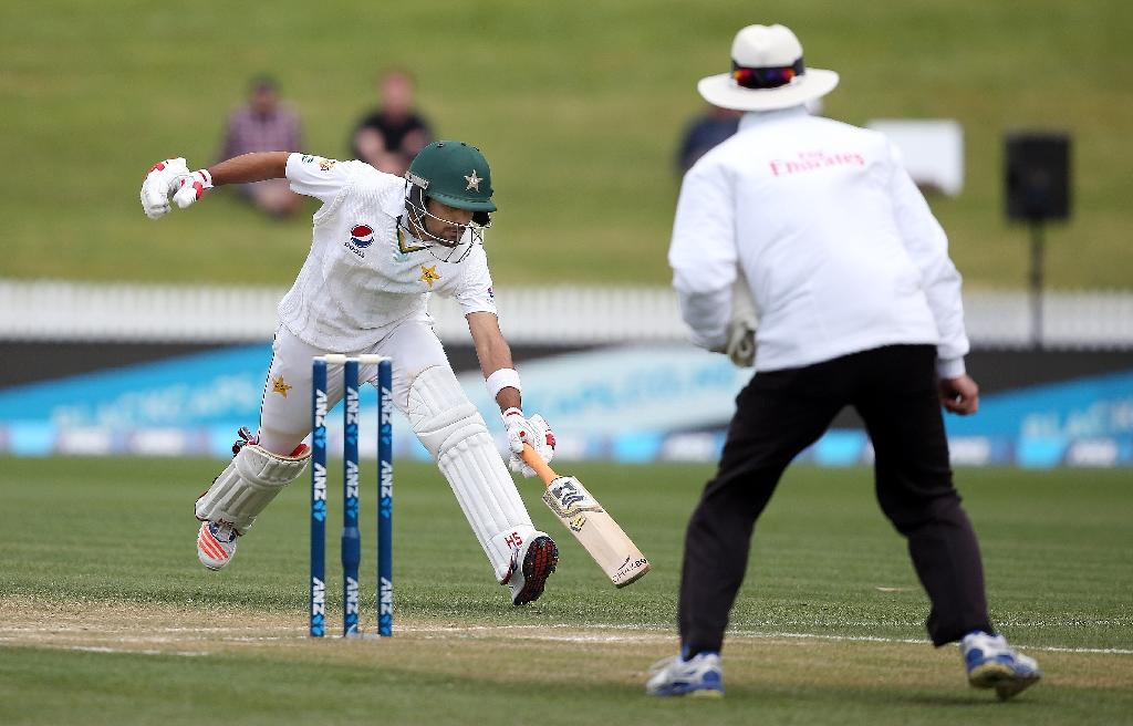 Pakistan's Babar Azam makes is ground during day three of the second cricket Test match between New Zealand and Pakistan at Seddon Park in Hamilton (AFP Photo/MICHAEL BRADLEY)