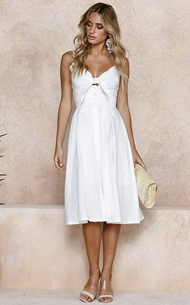 <p>This <span>Ecowish Tie Front V-Neck Midi Dress</span> ($18-$32) will look great with clear sandals, and it comes in several other colors.</p>