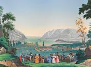"<p>Views of North America, more succinctly known as Scenic Views, has become one of the most famous panoramic papers in creation due to its use in the White House. Contrary to popular belief, this ode to America was actually created in France. </p><p>Jean-Julien Deltil, an artist often employed to create designs for the wallpaper company<a href=""https://www.zuber.fr/en"" rel=""nofollow noopener"" target=""_blank"" data-ylk=""slk:Zuber,"" class=""link rapid-noclick-resp""> Zuber,</a> was inspired by Jacques-Gérard Milbert's recently published lithographs of the New World across the Atlantic. Requiring 1,690 printing blocks and 223 colors, this luxurious, hand-printed 1830s wallpaper spans scenes of New York Bay, the Hudson River, Catskill Mountains, Boston Harbor, and Niagara Falls. This charming depiction of a preindustrial America wooed the likes of First Lady Jacqueline Kennedy, and she used it to redecorate the White House in 1961. It was also used in many private homes and hotels over the centuries. </p>"