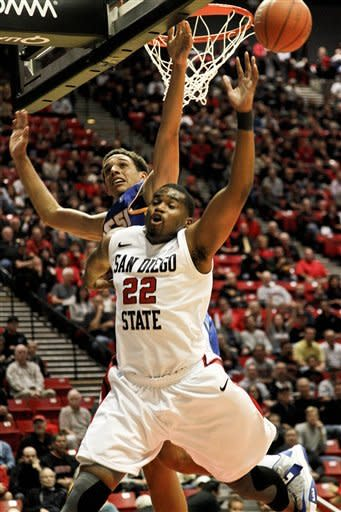 San Diego State's Chase Tapley is fouled going to the basket by Santa Barbara's Michael Bryson during first-half action in an NCAA college basketball game on Thursday Dec. 6, 2012, in San Diego. (APPhoto/Lenny Ignelzi)