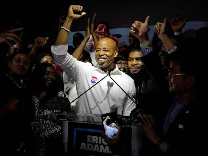 Eric Adams speaks at a New York City primary mayoral election night party in New York City, U.S., June 22, 2021.  (REUTERS)