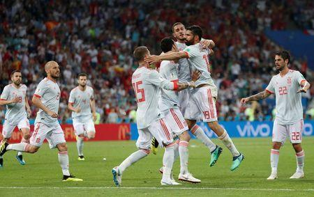 Soccer Football - World Cup - Group B - Portugal vs Spain - Fisht Stadium, Sochi, Russia - June 15, 2018 Spain's Diego Costa celebrates scoring their second goal with Sergio Busquets, Koke, Sergio Ramos and team mates REUTERS/Murad Sezer