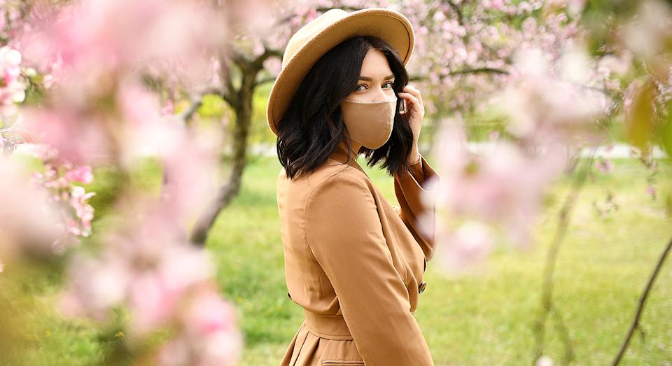Matching your face mask to your outfit is becoming this summer's hottest trend. (Getty Images)